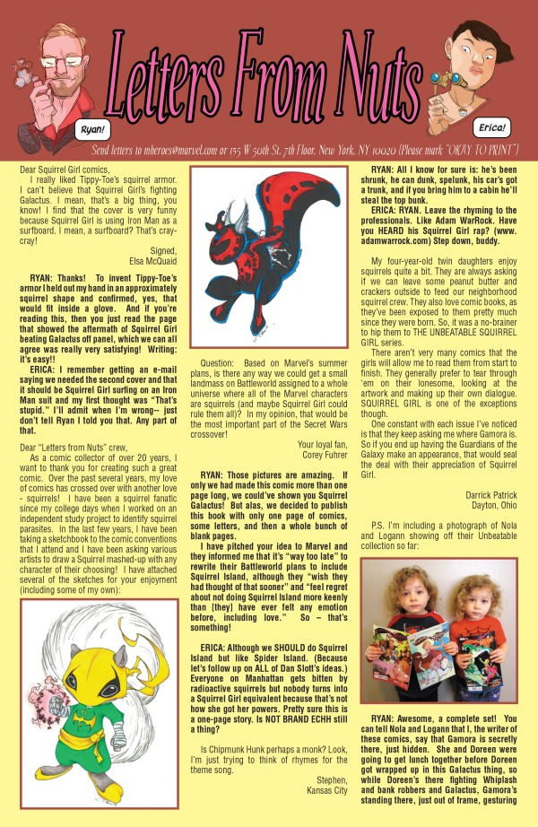 Squirrel Girl Letters Page - Matt Reads Comics