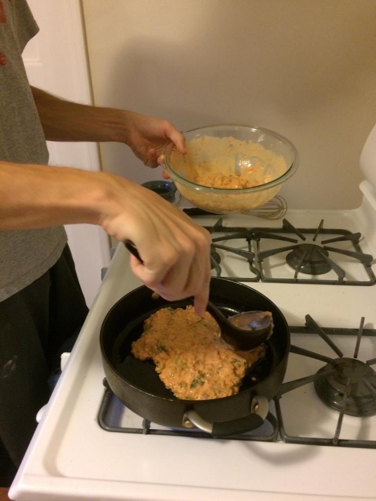 Spreading the Kimchi Pancake Batter